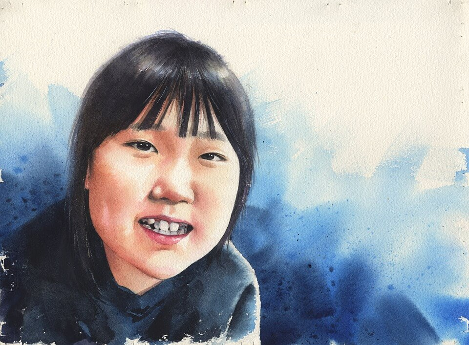 korean girl portrait watercolor
