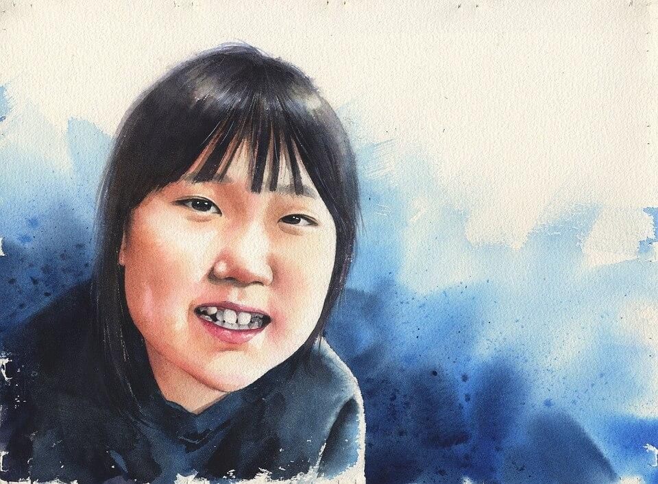 korean girl portrait watercolor